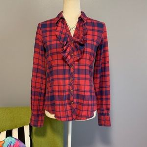 Brooks Brothers Plaid Ruffle Button Down Top B2
